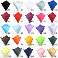 Wholesale Fashion Chic Men s Formal Suits Plain Solid Satin Pocket Square Handkerchief Wedding Party Gentlemen Men Hanky