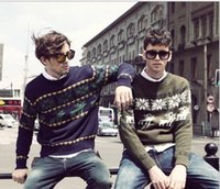 Wholesale 2016 New Spring Autumn Fashion Brand Casual Sweater O Neck Snowflake Slim Fit Knitting Mens Sweaters Chrismas Deer Men Pullover M XXL