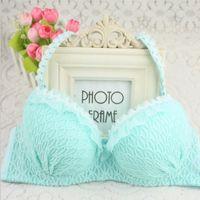 Wholesale beautiful sexy grid girls underwear suits gather adjustable bra cute jacquard