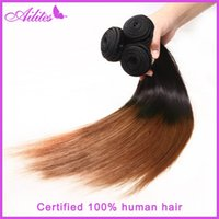 Cheap Hot selling cheap ombre hair wholesale factory price two tone ombre brazilian hair weaves natural straight 1B 30# gold human hair weft