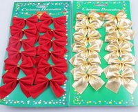 Wholesale Nice pack Pretty Red Silver Gold Bows For Festival Decoration Christmas Tree Christmas Ornament New Arrival