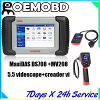 Engine Analyzer scanners - Autel MaxiDas DS708 Automotive Diagnostic Analysis System OBD EOBD Scanner multi language with MV208 videscope and creader vi code reade