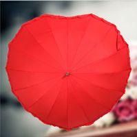 Wholesale Red Wedding Bridal Personal Umberlla Cordiform Heart shaped Long Handle Wedding Umbrella