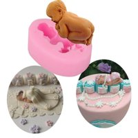 Wholesale New Arrival D Sleeping Baby Silicone Mold for Fondant Gum Paste Chocolate Baking Popular Cake Decoration DIY Tools Pink