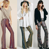 bell trousers - 2015 retail Sexy Women Vintage Boho Hippie Bell Bottom Pants Paisley Printed Wide Leg Yoga Trousers Long floral Pants
