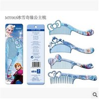 Wholesale New Frozen Girls Hair Brush Cartoon Combs Princess Anna Elsa Children Make up Hair care Plastic Comb Brushing with retail package DHL free