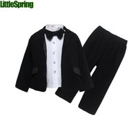 suits for 4 year old boys - Children s clothes set autumn spring boys pants long sleeved coat Shirt bow tie suits pieces sets for years old LZ T0464