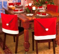 Wholesale Santa Claus Clause Hat Chair Covers Dinner Chair Cap Sets For Christmas Xmas Decorations Home Party Holiday Festive Red B240
