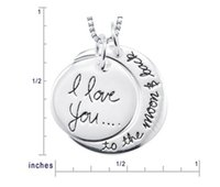 Wholesale Free DHL Fashion Two Piece I Love You To The Moon and Back Silver Gold Pendant Necklace Women Girls Gift Chain MM inch