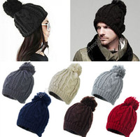 Wholesale Women Ladies Men Winter Warm Ski Cable Wool Knit Knitted Bobble Pom Beanie Cap Hat Fx253