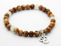 religious pictures - 2015 New Design Wrap mm Picture Jasper Stone Beads Om Yoga Charm Bracelets Semi Precious Jewelry