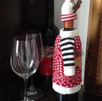 best santa suit - Christmas red wine covers deer Santa Ride design clothes bottle cover indoor decoration Antler Hats Top Suit Kitchen Dinner best
