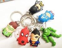 Wholesale HHA71 New arrive The Avengers Superman Batman Spider Man cartoon anime boy Keychain sided soft toys for kids