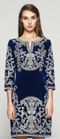 Wholesale Vintage Embroidery Women Sheath Dress Split O Neck Mini Work Dresses KC826