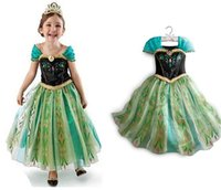 Cheap Frozen Dress Girls Lace Pleated Ball Gown Costume Dress SW021#