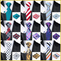 Wholesale 40 Style Tie hanky cufflink Sets Fashion Silk Neckties Ties for mens gravata For Wedding Party Business