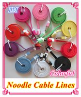 Wholesale Flat noodles charger cable V8 micro usb sync data charging Mobile phone cables android M colorful ZLQ13