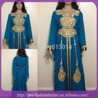 Cheap 2015 Long Sleeve Abaya Dresse High Neck Long Sleeve Embroidery Beaded Dubai Chiffon Kaftan Evening Dresses