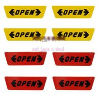Wholesale 4PCS Car Door Opening Warning Stickers Auto Reflective Side Sticky Decals Paster Yellow Red Color