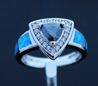 Wholesale New Triangle Gometry Blue Fire Opal Rings USA Size