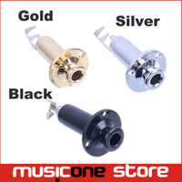 acoustic plug - 5pcs Brass Acoustic Electric Guitar End Pin output Input Jack Guitar Plug Socket for guitar parts Black Gold Chrome MU0587