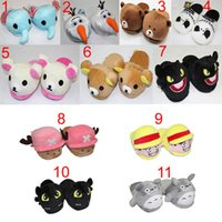 plush slippers - 10 inch Adult plush slipper The Nightmare Before Christmas Totoro Rilakkuma Luffy Chopper Olaf Night Fury slippers in opp bag