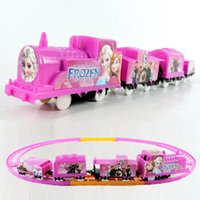 Wholesale 80pcs Frozen style Elsa Anna train track electric train set Baby educational toys Small electric splicing rail train Christmas gifts