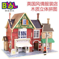 Wholesale New D Wood Puzzle DIY Model Kids Toy France England Norwegian Japan Style House Building Coffee House Puzzle Block