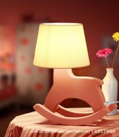 Wholesale Kids Bed Night Light Wooden Horse Reading Desk Lamp Cartoon Cockhorse Style Table Lamp Living Room Bedroom Decoration