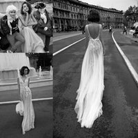 3d pictures - 2016 Liz Martinez Beach Wedding Dresses Elegant Lace Tulle V neck See Through Berta A line Bohemain Overskirt Wedding Gown galia lahav