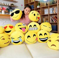 Wholesale 32X30cm Cushion Cute Lovely Emoji Smiley Pillows Cartoon Facial QQ Expression Cushion Pillows Yellow Round Pillow Stuffed Plush Toy