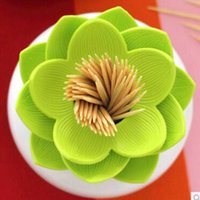 Wholesale Fashion Durable Lotus Vase Cotton Swab Home Decor Toothpick Holder Case Bud Box