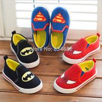 Precio de Zapatos de hombre araña para niños-Zapatos FG1511 J.G. Chen niños Superman Spiderman Batman 2015 Nueva muchachos de las muchachas de los niños de la Navidad / de Halloween tamaño de los zapatos 21-35 zapatillas de deporte de moda