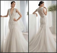 Cheap Demetrios 2016 Deep V-Neck Mermaid Lace Wedding Dresses Lace Applique Bodice Sleeveless Ruched Tulle Sweep Train Custom Made Bridal Gowns