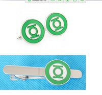 best tie clip - Comics GREEN LANTERN Logo Silver tone Enamel Cuff Link and Tie Clip Sets For Shirt Best gift Fashion Jewelry W387