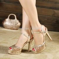 Wholesale fashion women sandals pumps pointed toe high heels shoes for women ankle straps gold and silver women pumps MW640