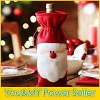 Wholesale 2015 Christmas cm Santa Claus Red Wine Bottle Cover Bags Christmas Table Dinner Decoration Home Party Decors Christmas Gift Bag