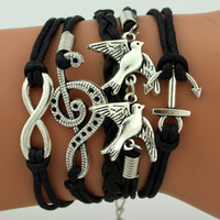 Acheter Infini mens bracelet-NOUVELLE corde de combinaison multicolore de bijoux faits à la main de bracelet de bracelet avec le mélange d'oiseau de paix de l'arbre de vie d'infini