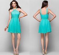 Cheap Model Pictures Sleeveless Best A-Line Halter Homecoming Dresses