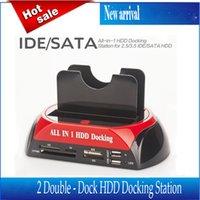 aluminum dock parts - 2 quot quot SATA IDE Double Dock HDD Docking Station e SATA Hub External Storage Enclosure Parts Free Drop Shipping