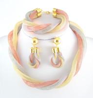 achat en gros de plaqué or ensembles collier de mariée-18k Mode plaqué or Mysterious collier de charme romantique ensemble de bijoux de mariée