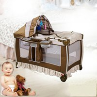 Wholesale Two Floors Foldable Baby Bedding Set With Sunshine Cover Portable Game Bed