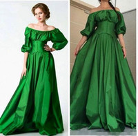 arab specials - Saudi Arab Green Prom Dresses Vintage Evening Dresses Sexy Off Shoulder Puffy Sleeve A Line Ruffle Party Gowns Special Occasion Dress