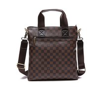 bags briefcases - New Designer Mens Plaid Pattern Bag Fashion PU Leather Bags Briefcase Business Shoulder Messenger Bags MX
