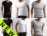 v neck tee shirts - New Men s Slim Fit V neck crew neck T shirt Shirt Short Sleeve Clothing Muscle Tee Small Size