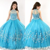 Wholesale 2015 RACHEL ALLAN Girls Pageant Dresses Sheer High Neck Tulle Blue Rhinestone Crystal Beads Glitz Ball Gown Long Flower Girls Gowns