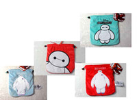Wholesale 2015 BIG HERO baymax Portable cell phone pocket shrink beam pocket storage candy snack key bus id card coin bags