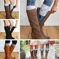 acrylic trimmer - Stretch Lace Boot Cuffs Women GIRLS LEG WARMERS Trim Flower Design Boot Socks Knee