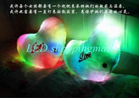 Wholesale colorful LED light pillow lucky heart star two shaped glow pillow kids gift Christmas gift order lt no track