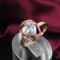 Wholesale Hot K Rose Gold Plated Heart Austrian Crystal Champagne Gemstone Erstwhile Memory Design Lady Ring